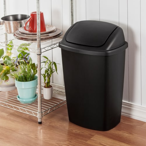 Sterilite Swing Top Waste Basket - Black Perspective: back
