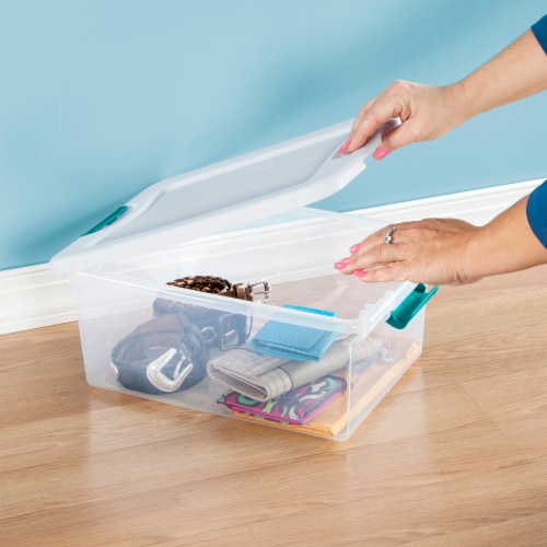Sterilite Latching Storage Box - Clear/White Perspective: back