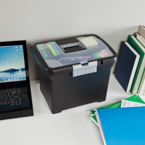 Sterilite Portable File Box - Black Perspective: back