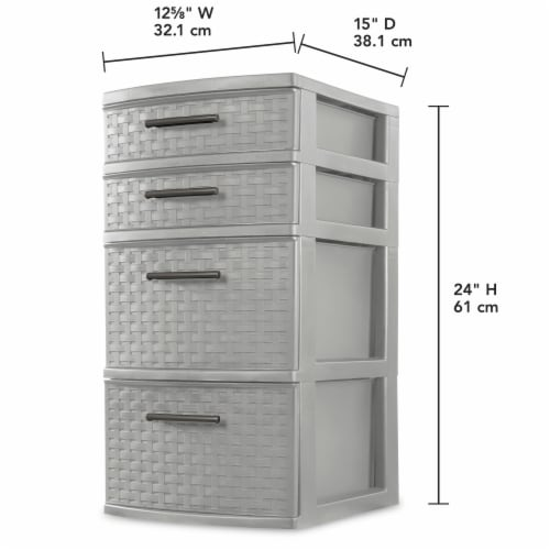 Sterilite 4 Drawer Weave Tower - Cement Perspective: back