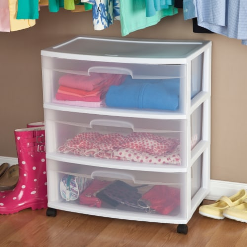 Sterilite 3-Drawer Wide Cart with Casters - Clear/White Perspective: back