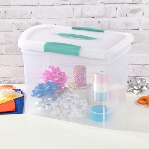 Sterilite ShowOffs Large Storage Box with Lid - Clear/Aqua Blue Perspective: back