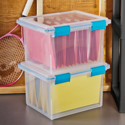 Sterilite Storage Box with Lid - Clear/Blue Perspective: back