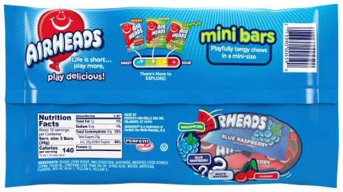 Airheads Mini Bars Assorted Flavors Candy Perspective: back
