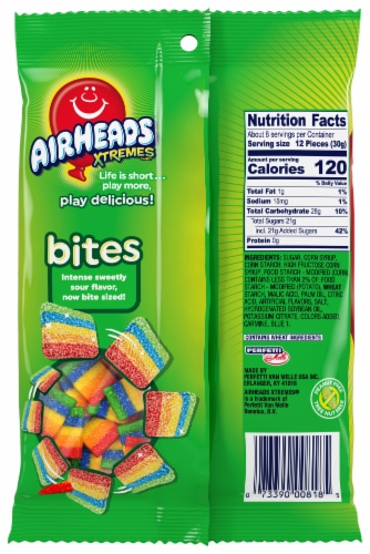 Airheads Xtremes Rainbow Berry Bites Sour Candy Perspective: back