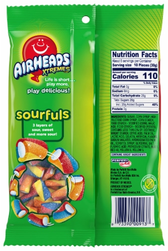 Airheads Xtremes Rainbow Berry Sourfuls Candy Perspective: back