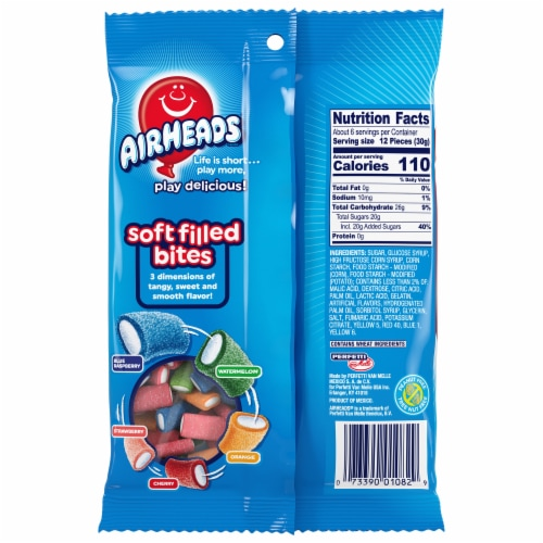 Airheads Soft Filled Bites Original Fruit Flavors Candy Perspective: back