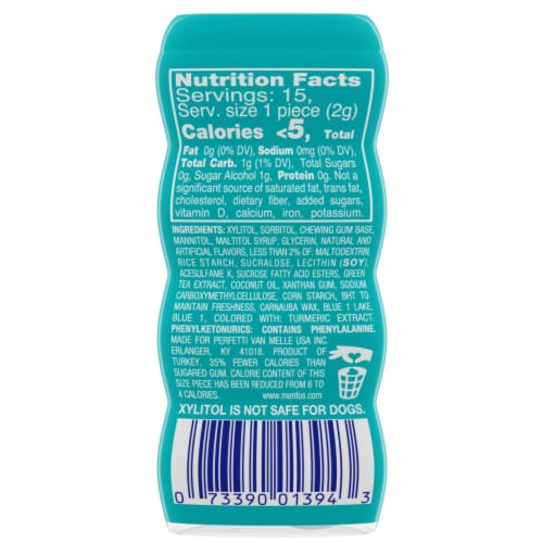 Mentos Pure Fresh Wintergreen Chewing Gum Perspective: back