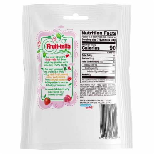 Fruit-tella Strawberry and Raspberry Soft Gummies Perspective: back