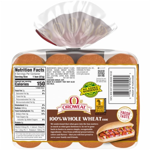 Oroweat 100% Whole Wheat Hot Dog Buns Perspective: back