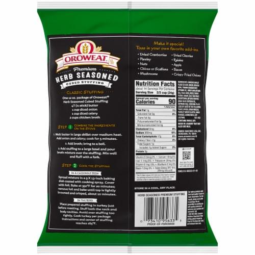 Oroweat Premium Herb Seasoned Cubed Stuffing Perspective: back
