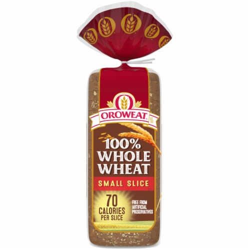 Oroweat Small Slice 100% Whole Wheat Bread Perspective: back