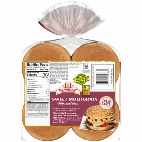 Brownberry® Restaurant Style Sweet Multigrain Hamburger Buns Perspective: back