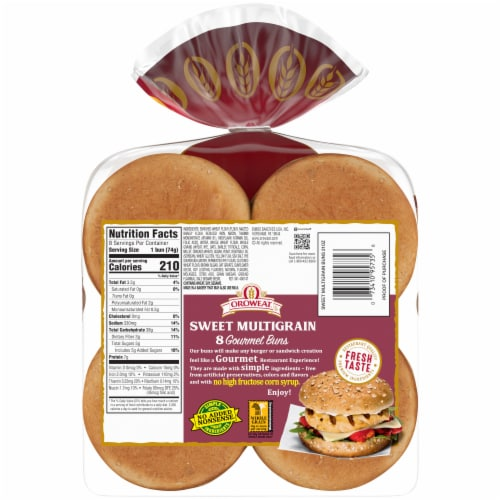 Oroweat® Sweet Multigrain Gourmet Hamburger Buns Perspective: back