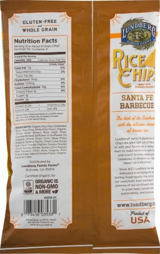 Lundberg Gluten Free Santa Fe Barbecue Rice Chips Perspective: back