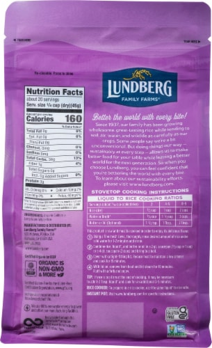 Lundberg Organic California White Jasmine Rice Perspective: back