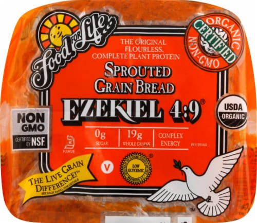 Food for Life Ezekiel 4:9 Sprouted Whole Grain Bread Perspective: back