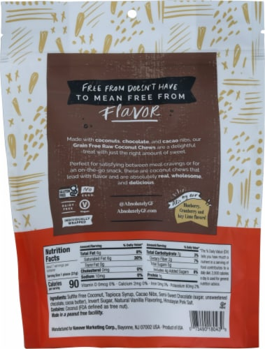 Absolutely Gluten Free Chocolate & Cacao Nibs Raw Coconut Chews Perspective: back