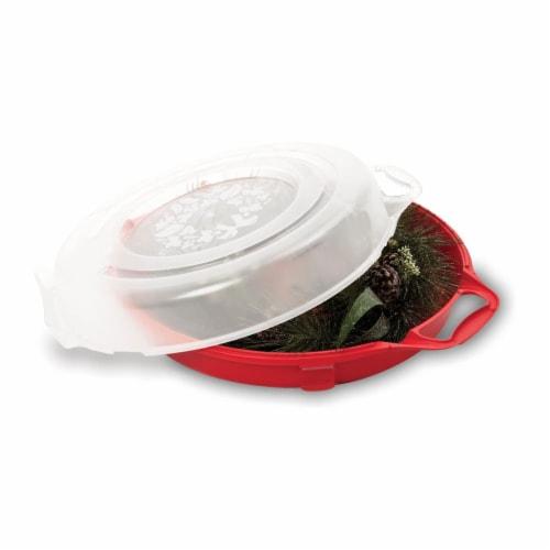 Homz 24 Inch Diameter Seasonal Holiday Christmas Plastic Wreath Storage Box, Red Perspective: back