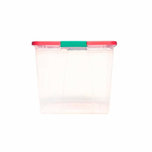 Homz 64 Qt Secure Latching Large Clear Plastic Storage Container Bin w/ Red Lid Perspective: back