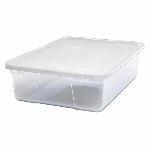 Homz 28 Qt Snaplock Clear Plastic Storage Container Bin with Secure Lid, 2 Pack Perspective: back