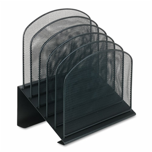 Safco Onyx Black Mesh Desk Organizer with 5 Slanted Sections Perspective: back