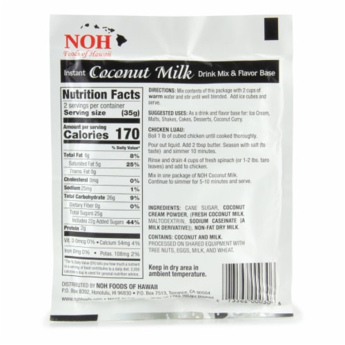 NOH Coconut Milk Drink and Flavor Base Mix Perspective: back