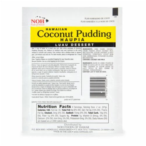 NOH of Hawaii Hawaiian Coconut Pudding Mix Perspective: back