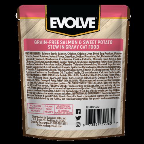 Evolve® Grain-Free Salmon & Sweet Potato Stew in Gravy Wet Cat Food Perspective: back