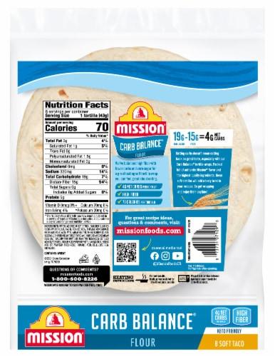 Mission Carb Balance Soft Taco Flour Tortillas 8 Count Perspective: back