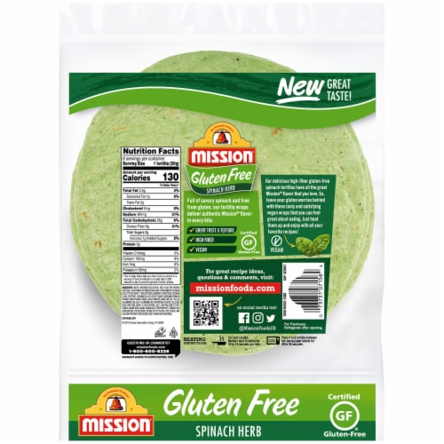 Mission Gluten Free Spinach Herb Tortillas Perspective: back
