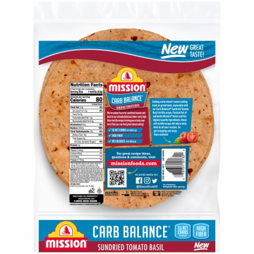 Mission Carb Balance Sundried Tomato Basil Tortilla Wraps Perspective: back