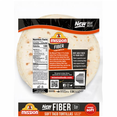 Mission Fiber Soft Taco Flour Tortillas Perspective: back
