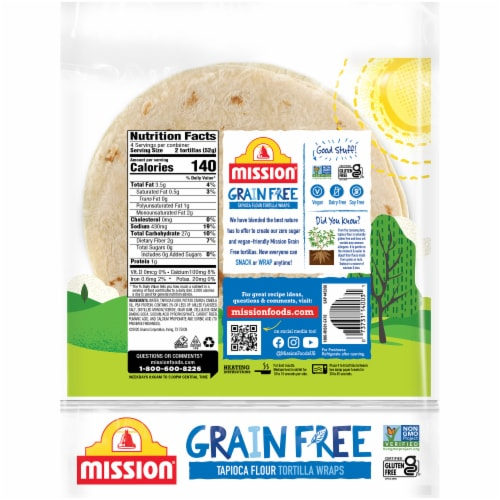 Mission Grain-Free Tapioca Flour Tortilla Wraps Perspective: back