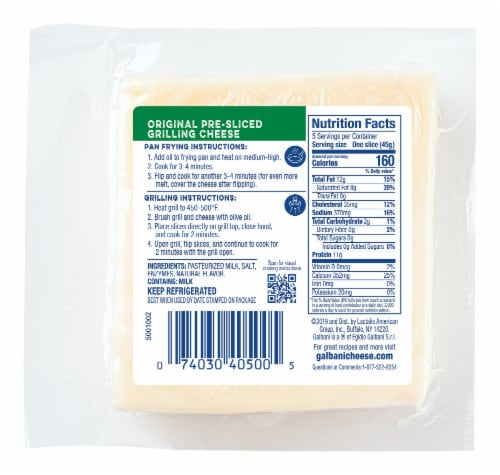 Galbani Pre-Sliced Original Grilling Cheese Perspective: back