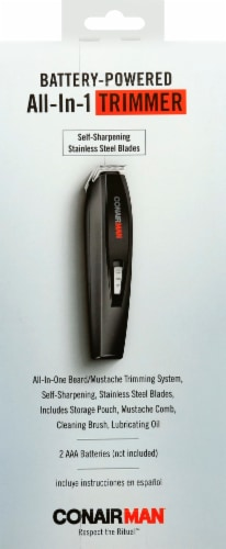 Conair® All-In-1 Battery-Powered Beard And Mustache Trimmer Perspective: back