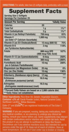 Nature's Bounty® Immune 24 Hour+ Dietary Supplement Softgels Perspective: back