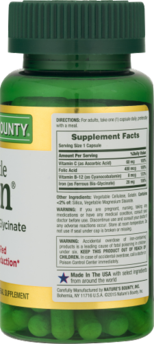 Nature's Bounty Iron Capsules 28mg Perspective: back