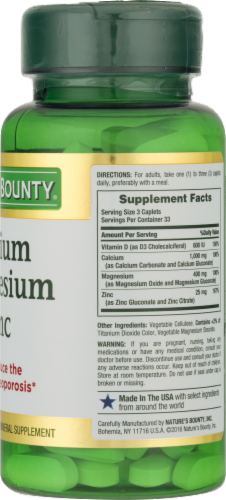 Nature's Bounty Calcium Magnesium Zinc Caplets Perspective: back