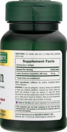 Nature's Bounty Lutein Rapid Release Softgels 20mg Perspective: back