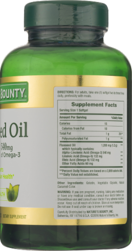 Nature's Bounty Flaxseed Oil Omega-3 540 mg Rapid Release Softgels 1200mg Perspective: back
