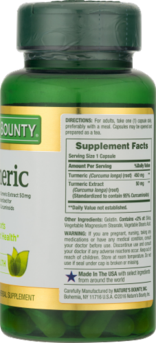 Nature's Bounty Turmeric Capsules 450mg Perspective: back