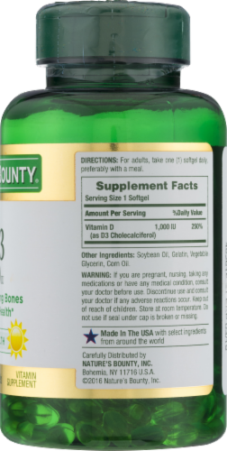 Nature's Bounty D3 Softgels 25mcg Perspective: back