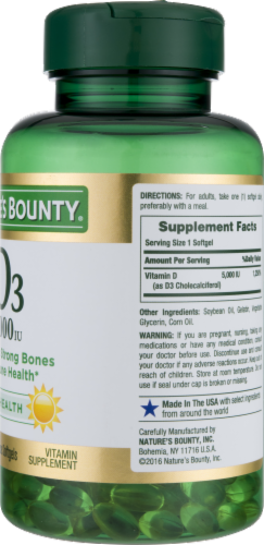Nature's Bounty D3 Softgels 5000 IU Perspective: back