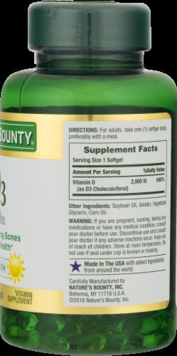 Nature's Bounty Vitamin D3 Softgels 2000 IU Perspective: back