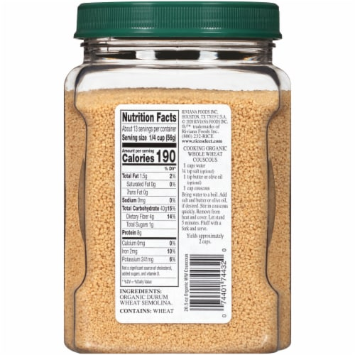 RiceSelect Organic Whole Wheat Couscous Perspective: back