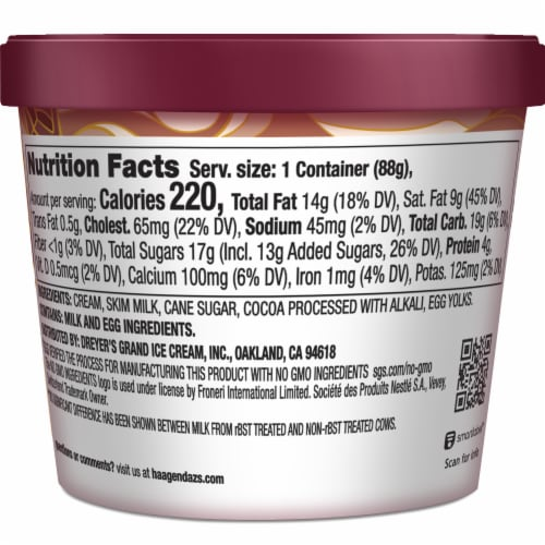 Haagen-Dazs Chocolate Ice Cream Cup Perspective: back