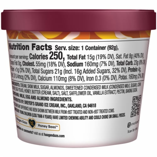 Haagen-Dazs Gluten Free Honey Salted Caramel Almond Ice Cream Perspective: back