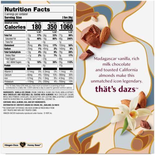 Haagen-Dazs Vanilla Milk Chocolate Almond Snack Size Ice Cream Bars Perspective: back