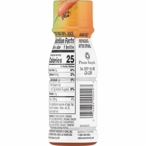 R.W. Knudsen Organic Carrot Black Pepper Turmeric Shot Perspective: back